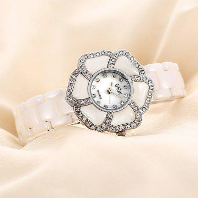 GEDI Ceramic Strap Flower Dial Ladies Diamond Japan Quartz Watch