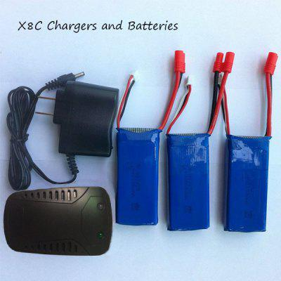 SYMA X8C RC Quadcopter Spare Parts 3Pcs 7.4V 2000mAh Batteries + US Plug Charger + Balance Charger