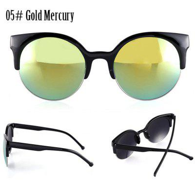 Simple Retro Fashion Women Sunglasses Round Lens Anti-UV