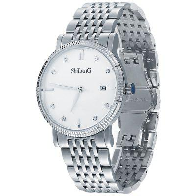 ShiLonG 8070G Water Resistance Diamond Male Japan Quartz Watch with Fine Steel Band Date Function
