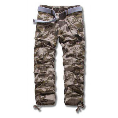 Military Uniform Style Straight Leg Loose Fit Camo Print Multi-Pocket Zipper Fly Men's Plus Size Pants