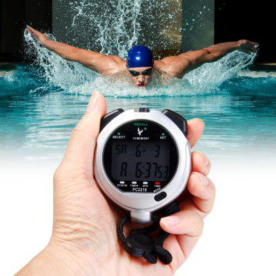 PC2210 Portable Handheld LCD Digital Chronograph Timer Sports Stopwatch Counter with 2 Rows 10 Memories