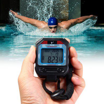 PC90 Portable Handheld LCD Digital Chronograph Timer Sports Stopwatch Counter with 3 Rows 60 Memories