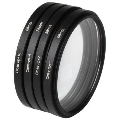 Optics 58MM +1 +2 +4 +10 Close-Up Macro Filter Set with Pouch for Nikon Nikon Sony Digital SLR Camera Lens