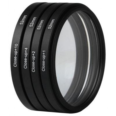 Optics 52mm +1 +2 +4 +10 Close-Up Macro Filter Set with Pouch for Nikon Nikon Sony Digital SLR Camera Lens