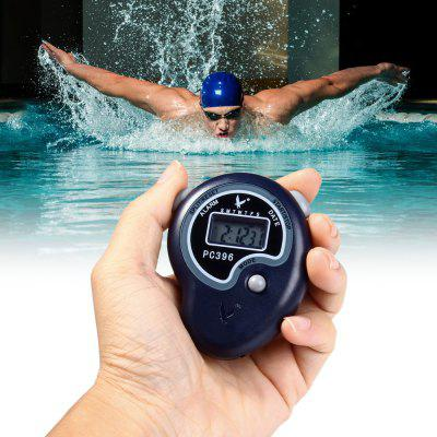 PC396 Hand-held 5 Digit Single Row 2 Memories LCD Digital Stopwatch with Time Date Alarm Function