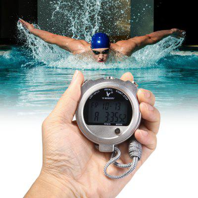 TF810 2 Rows 10 Memories Metal LCD Digital Sport Stopwatch Countdown Timer with Calendar Alarm Function