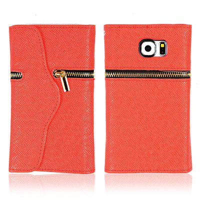 Magnetic Snap PU Leather Cover Case Wallet Card Holder for Samsung Galaxy S6 Edge