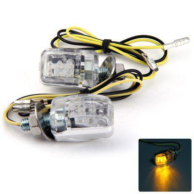 2pcs 12V 6 LEDs Motorcycle Turn Signal Indicator Light - Amber Light