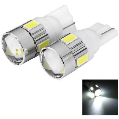 2pcs T10 12V 0.5W SMD5630 6 LEDs Car License Plate Lamp Bulb with Lens - White Light