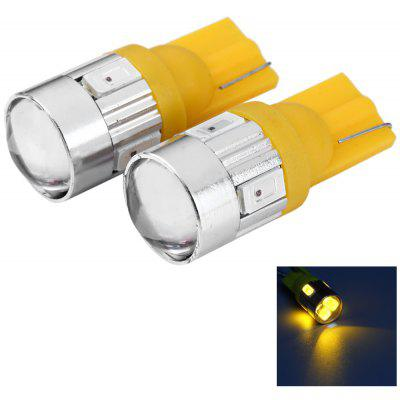 2pcs T10 12V 0.5W SMD5630 6 LEDs Car License Plate Lamp Bulb with Lens - Yellow Light