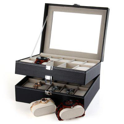 20 Grids Watch Display Case PU Leather Jewelry Storage Box Organizer
