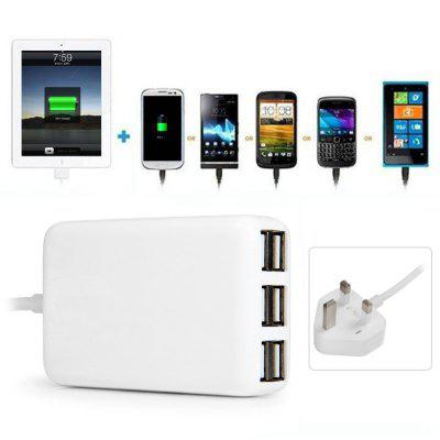 Multi - use 6 USB Ports 30W Charger Overload Protection Power Adapter for iPhone iPad iPod Samsung HTC  -  110 - 240V UK Plug