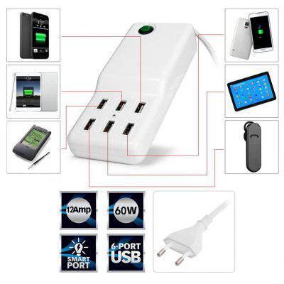 Multi - use 6 USB Ports 60W Charger Overload Protection Power Adapter for iPhone iPad iPod Samsung HTC  -  110 - 240V EU Plug