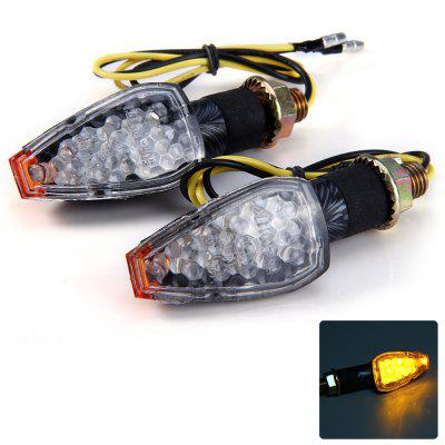2pcs 12V 14 LEDs Motorcycle Arrow Shaped Turn Signal Light Blinker - Amber Light