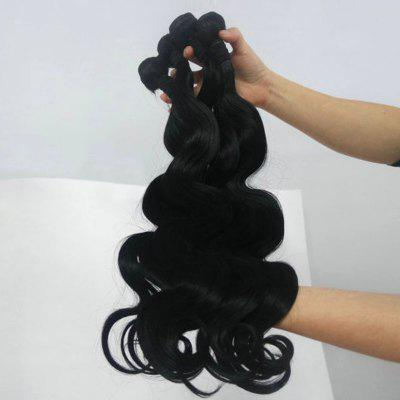 Glossy Elegant Body Wavy Heat-Resistant Fibre Popular Natural Black Women's Hair Weft