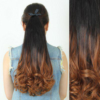 Trendy Fluffy Long Wavy Black Ombre Charming Heat Resistant Synthetic Ponytail For Women