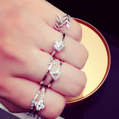 ONE PIECE Luxury Rhinestone Embellished Varied Style Star Triangle Leaf Clover and Olive Branch Shape Ring For Women