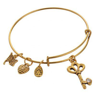 Retro Rhinestone Key Heart Bracelet For Women
