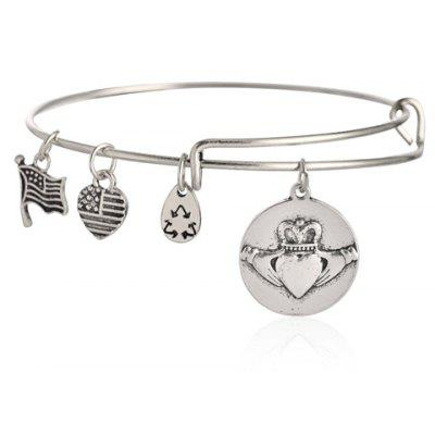 Crown Pattern Heart Charm Bracelet