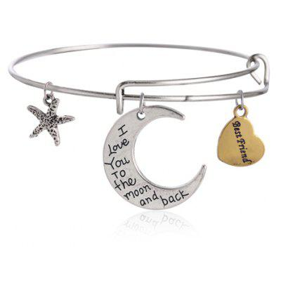 Moon Heart Starfish Charm Bracelet