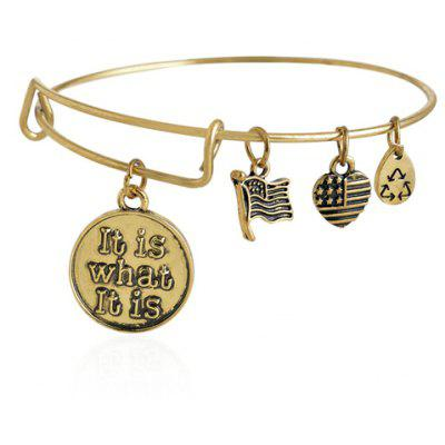 Engraved Coin Heart Flag Charm Bracelet