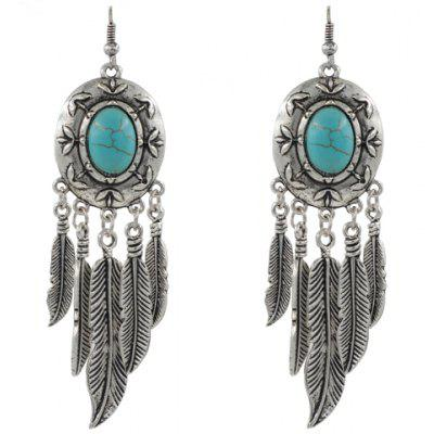 Pair of Retro Beads Feather Drop Earrings