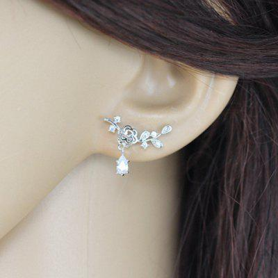 Pair of Fresh Delicate Rhinestone Floral Earrings For Women