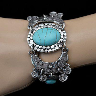 Bohemian Retro Style Turquoise Decorated Oval and Floral Shape Bracelet For Women