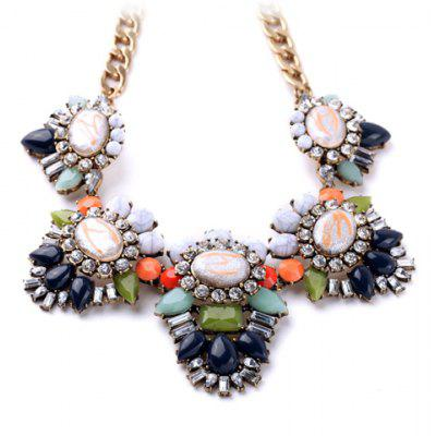 Sweet Rhinestone Floral Necklace For Women