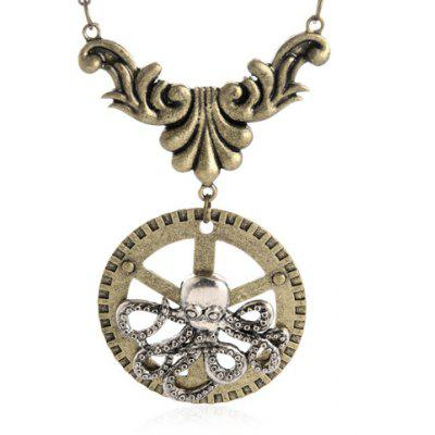 Octopus Gear Pendant Necklace