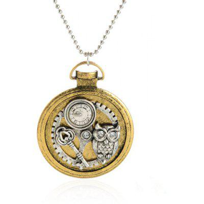Key Owl Watch Pendant Necklace
