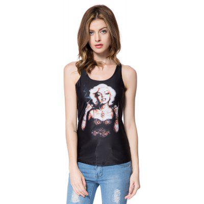 Stylish Scoop Neck Slimming Figure Print Tank Top For Women