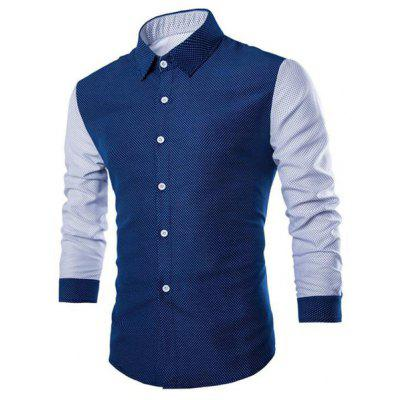 Fashion Shirt Collar Polka Dots Print Slimming Long Sleeve Cotton Blend Shirt For Men