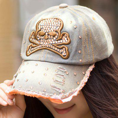 Chic Rhinestones Skull Embroidery Embellished Fringed Brim Visor For Women