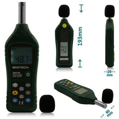 Buy MASTECH MS6708 Digital Sound Level Meter Decibel Noise Meter 30dB to 130dB with Backlight / LCD Display BLACK AND GREEN for $84.68 in GearBest store