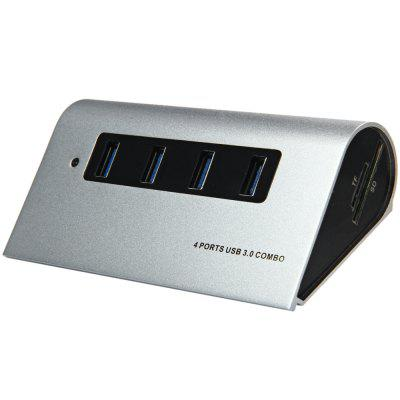 Aluminum Alloy 5Gbps 4 - Port USB 3.0 Hub + TF / SD Card Reader Combo with DC Power Slot for USB Devices