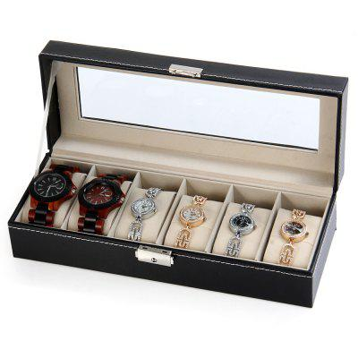 6 Grids Watch Display Case PU Leather Jewelry Storage Box Organizer