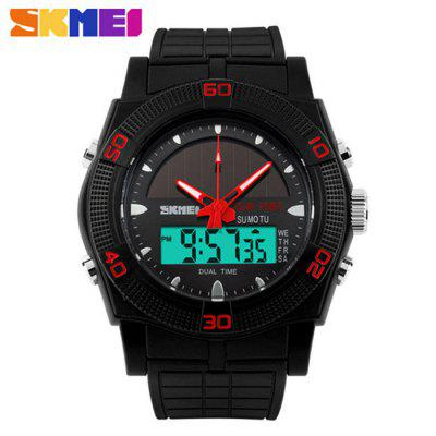 Skmei 0981 Solar Power Dual Movt LED Watch Water Resistant Sports Wristwatch