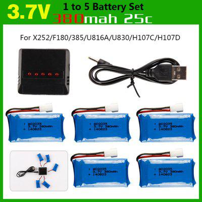 Durable 1 to 5 Balance USB Charger + 5 PCS 3.7V 380mAh 25C LiPo with Protection Board + USB Cable for H107 Series / 385 / F180 Tarantula No. 1505 RC Model Accessories
