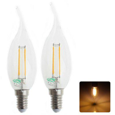 2Pcs Zweihnder W141 E14 4W 380Lm Edison Sapphire Filament Candle Bulb Warm White Tungsten Light ( 3000 - 3500K )