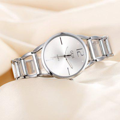 GEDI Luminous Analog Japan Quartz Bracelet Ladies Chain Watch with Hollow Out Alloy Band