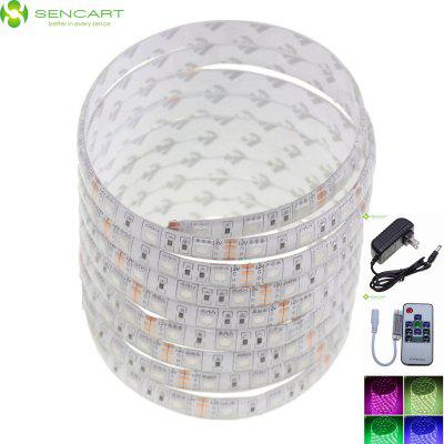 SENCART 5M 75W 300 SMD 5050 LED 3600LM IP68 Colorful Cuttable Strip Light for Wedding / Party / Christmas + Power Adapter ( US Plug 12V 2A 100 - 240V ) + 10 - Keys IR ControllerLED Strips<br>SENCART 5M 75W 300 SMD 5050 LED 3600LM IP68 Colorful Cuttable Strip Light for Wedding / Party / Christmas + Power Adapter ( US Plug 12V 2A 100 - 240V ) + 10 - Keys IR Controller<br><br>Actual Lumens: 3600<br>Brand: Sencart<br>Chip Brand: Epistar<br>Connector Type: 4PIN<br>Features: IP-68, Cuttable, Remote Control, Low Power Consumption, Waterproof<br>Input Voltage: AC100-240<br>Length: 5<br>Material: Plastic, Silicone, FPC<br>Model: 5M RGB LED Light Strips<br>Number of LEDs: 300<br>Optional Light Color: RGB<br>Package Contents: 1 x LED Strip ( 500cm ), 1 x Buttons Mini Controller, 1 x AC Power Adapter ( US Plug 100 - 240V 50-60Hz, 80cm Cable )<br>Package size (L x W x H): 12 x 4 x 4 cm / 4.72 x 1.57 x 1.57 inches<br>Package weight: 0.230 kg<br>Product size (L x W x H): 500 x 1 x 0.3 cm / 196.50 x 0.39 x 0.12 inches<br>Product weight: 0.165 kg<br>Theoretical Lumens: 4800