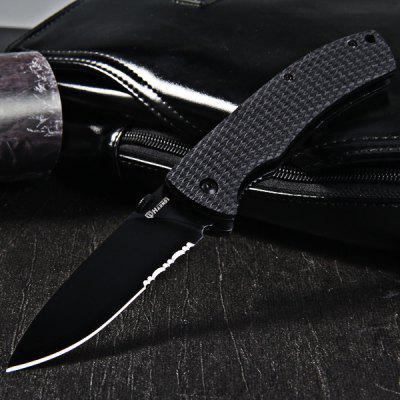 HARNDS CK6016 Portable Line Locking Folding Knife with Sawtooth Viper 9Cr18MoV Blade - BLACK