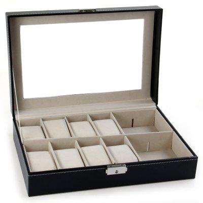 12 Grids Watch Display Case PU Leather Jewelry Storage Box OrganizerWatch Accessories<br>12 Grids Watch Display Case PU Leather Jewelry Storage Box Organizer<br><br>Color: Black<br>Material: Leather<br>Package Contents: 1 x Watch Display Box, 1 x Key<br>Package size (L x W x H): 32.00 x 22.00 x 10.00 cm / 12.6 x 8.66 x 3.94 inches<br>Package weight: 1.1660 kg<br>Product size (L x W x H): 30.20 x 20.40 x 8.00 cm / 11.89 x 8.03 x 3.15 inches<br>Product weight: 1.0900 kg<br>Type: Box/case