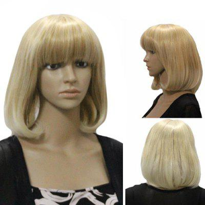 Charming Medium Wavy Full Bang Stylish Synthetic Blonde Mixed Capless Wig For Women