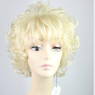 Stylish Fluffy Neat Bang Charming Short Curly Synthetic Capless Wig For Women