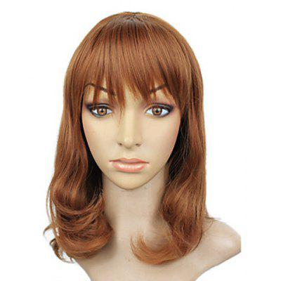 Capless Elegant Full Bang Fluffy Medium Wavy High Temperature Fibre Pear Hair Light Brown Wig 134615001