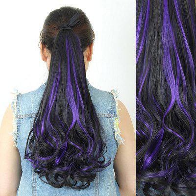 Trendy Fluffy Long Wavy Brown Highlight Charming Heat Resistant Synthetic Ponytail For Women
