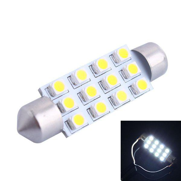 42mm 3W 150LM 12 x SMD 3528 6000K Double Pointed LED Car Reading / License Plate / Door Lamp DC 12V